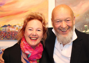 Michael Eavis with artist Alce Harfield