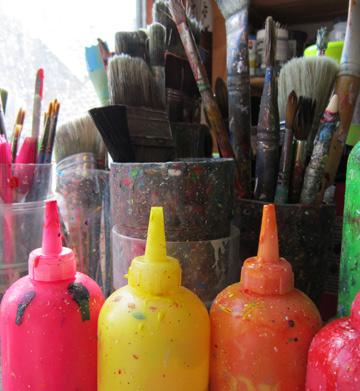 Paint brushes pots, Art techniques page