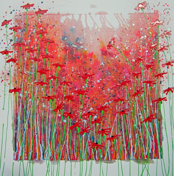 Alce Harfield painting c2007 - Poppy Dance (with glitter, ladbird and tiny hearts)