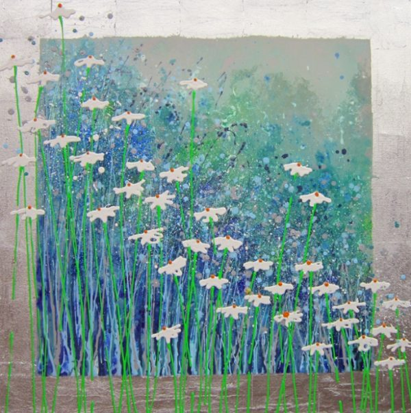 Alce Harfield painting c2010 - Silver haze (with silver leaf, glitter and resin)