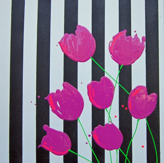 Alce Harfield painting c2011 - Tulip Tumble (with black glitter stripes!)