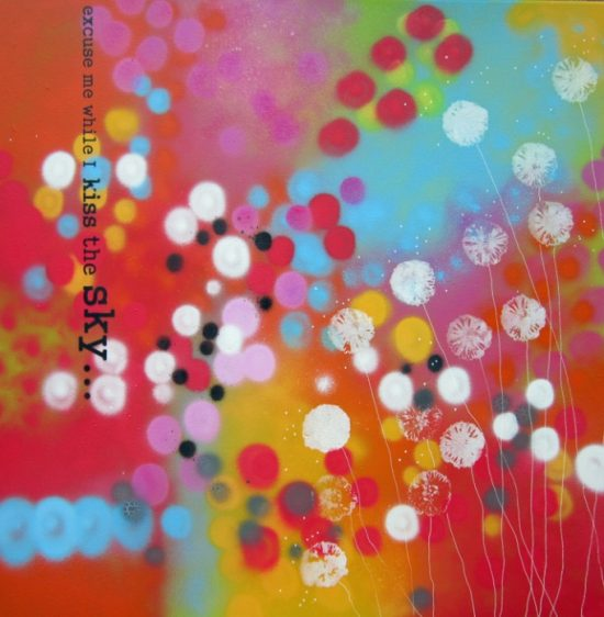 Alce Harfield painting c2013 - Kiss the Sky (spray with sparkle dandelions)