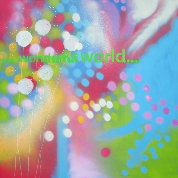 Alce Harfield painting c2015 - Wonderful World (spray with sparkle dandelions)