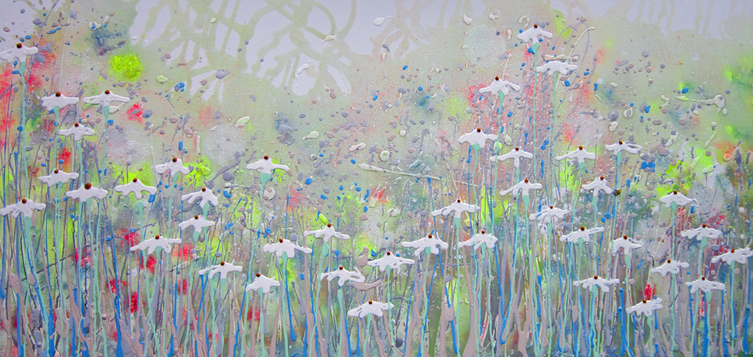 Alce Harfield painting c2020 - Breathless (with glitter, sparkle dandelions and bee)