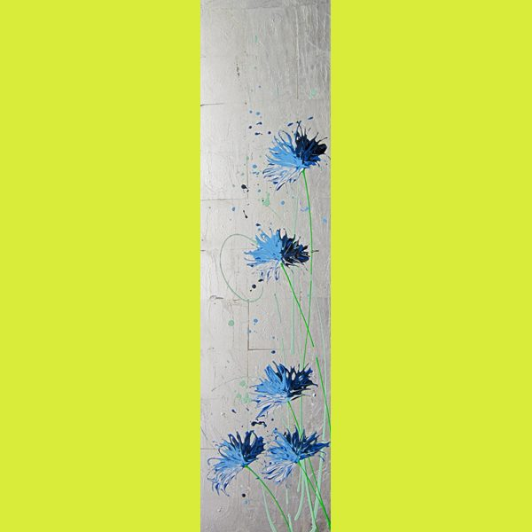 Alce Harfield painting c2021 - Blue Soul (with sliver leaf)