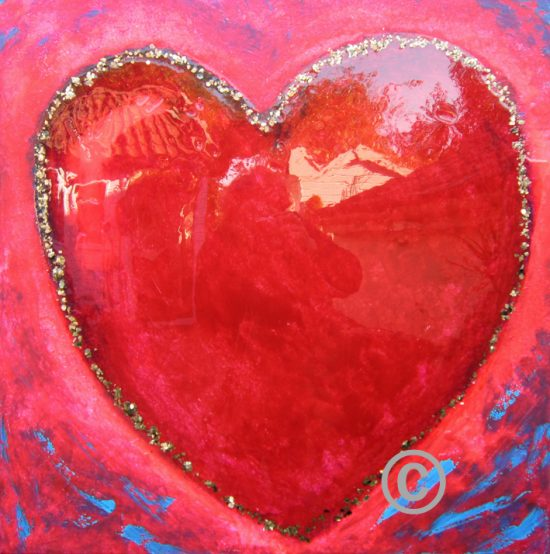 Heart of Gold (with resin coating and gold leaf flakes)