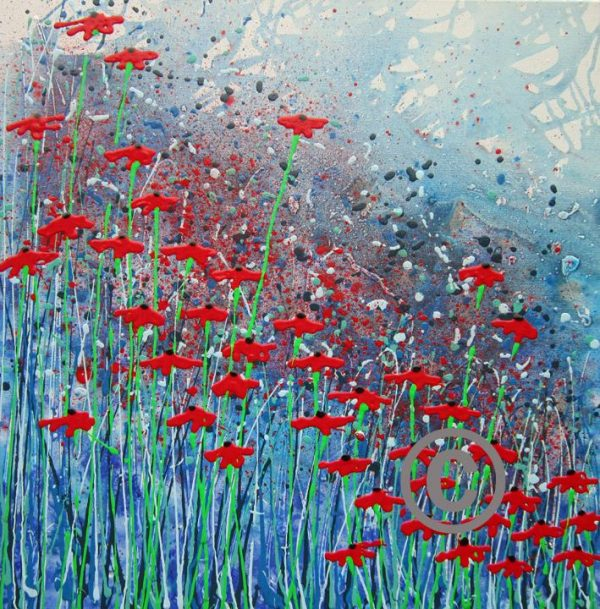 """2285 Poppy passions (with glitter and ladybird) 30x30"""""""