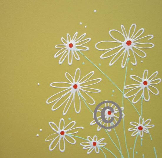 2271 Daisies (on soft mustard background)