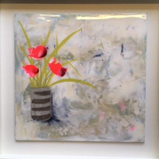 2346 Peace (coated in resin, framed in white) 50x50cm