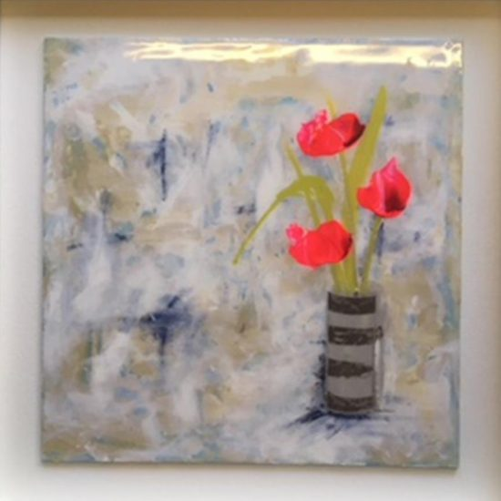 2345 Joy (coated in resin, framed in white) 50x50cm